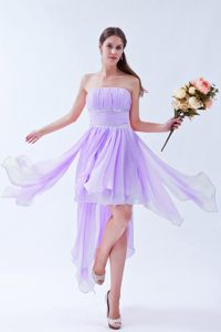 Asymmetrical Hem Chiffon Cocktail Dresses with Beading in Lilac
