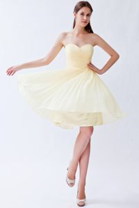Sweetheart Empire Light Yellow Short Pleats Cheap Cocktail Dress