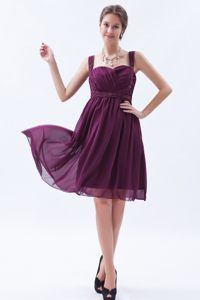 Chiffon Dark Purple Straps Cocktail Dress Beaded in Columbia SC