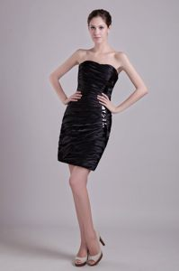 Column Taffeta Black Ruched Short Cocktail Dresses in Montgomery