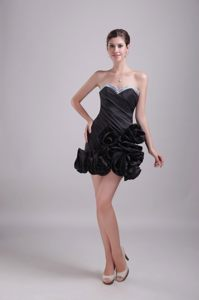 Black Satin Mini-length Cocktail Dresses Beaded with Sweetheart