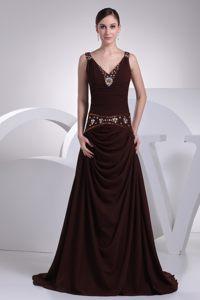 Burgundy Beaded V-neck Ruching Prom Cocktail Dresses with Straps
