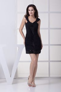 Sheath Black Paillette Dress for Cocktail Party with Wide Straps