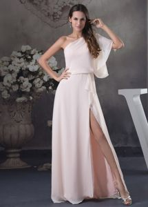 Peach Chiffon One Shoulder Short Sleeves Cocktail Dress in Boise