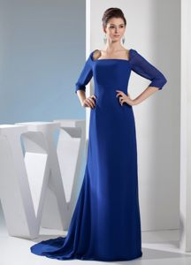Square Column 2013 Royal Blue Cocktail Dresses with Half Sleeves