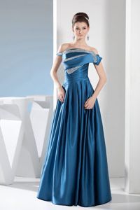 Off the Shoulder Beaded Satin Designers Cocktail Dress in Topeka