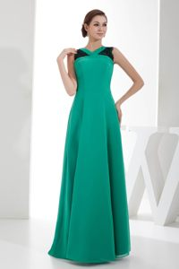 Chiffon Turquoise Cocktail Dress with V-neck and Lacework Cheap