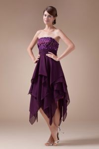 Empire Appliques Purple Short 2013 Cocktail Dresses with Ruffles