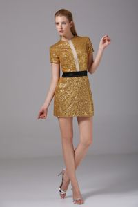 Short Gold Sequined Scoop Cocktail Dress with Short Sleeves 2014