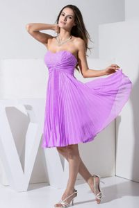 Beaded Bodice Knee-length Cocktail Dress for Prom by Purple Pleated Chiffon