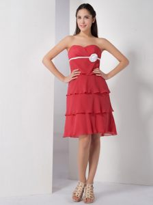 Delaware Coral Red Cocktail Dresses with White Handmade Flower and Layered Skirt