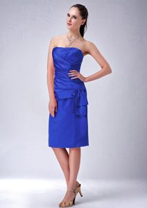 Royal Blue Strapless Ruched Cocktail Dress in Knee-length by Taffeta in Florida