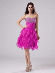 Fuchsia Beaded Decorate Bust Ruffled Skirt Georgia Wedding Cocktail Party Dress