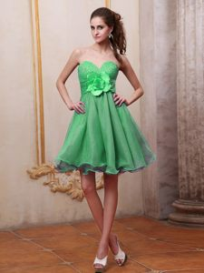 Spring Green Beaded Bust Handmade Flower Hawaii Cocktail Reception Dresses