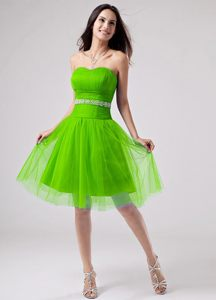 Beaded Belt Strapless A-Line Idaho Cocktail Dress for Celebrity in Green Color