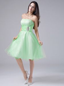 Spring Green Beaded and Ruched Bodice Cocktail Dress for Prom in Indiana