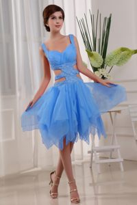 Missouri Sexy Organza Beading Decorate Cocktail Party Dresses in Aqua Blue