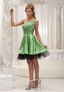 One Shoulder Beaded Bodice Organza Evening Cocktail Dress in Mississippi