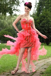 High-low Organza Beading Sweetheart Red Homecoming Cocktail Dress