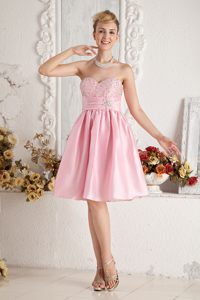 Beading Decorate Sweetheart A-line Knee-length Light Pink Cocktail Dress