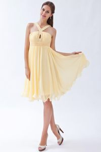 Halter Top Knee-length Light Yellow Beaded Cocktail Dress with Key Hole