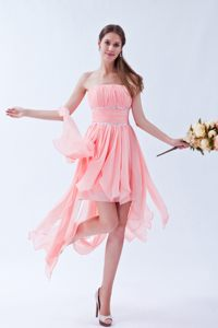 Asymmetrical Strapless Baby Pink Juniors Cocktail Dress with Beading