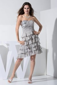 Layered Ruffles Sweetheart Beading Grey Cocktail Dress in Cedar Rapids