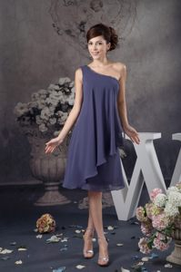 One Shoulder Navy Blue Ruffled Cocktail Dress Knee-length in Kailua-Kona