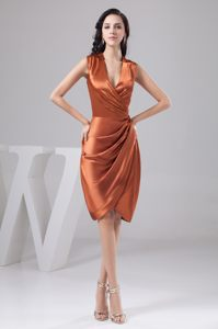 V-neck Knee-length Rust Red Cocktail Dress Ruched in Honolulu Hawaii