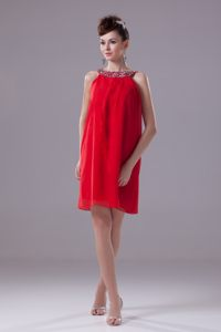 Beading Bateau Neck Coral Red Mini-length Plus Size Cocktail Dress in CA