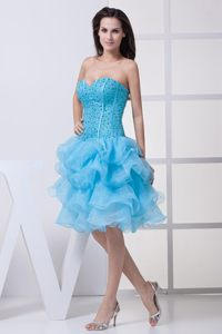 Beading and Ruffles Knee-length Sweetheart Aqua Blue Cocktail Dress