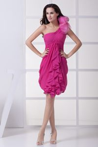 Chiffon Ruffles Floral Embellishment One Shoulder Fuchsia Cocktail Dress