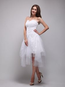 Sweetheart Snow White Asymmetrical Organza Appliqued Cocktail Dress