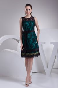 Bateau Neck Multi-colored Lace Knee-length Cocktail Dress for Juniors