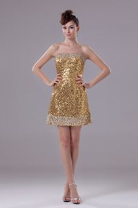 Gold Strapless Cocktail Dress For Prom in Shinning Fabric Kansas