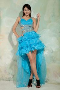 Beaded Blue High-low with Straps Cocktail Dress For Prom Idaho
