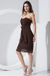 Brown Chiffon Homecoming Cocktail Dress with Bowknot Kentucky