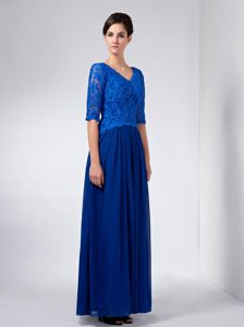 Blue V-neck Chiffon and Lace Evening Cocktail Dress with Sleeves