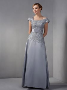 Gray Cocktail Dress For Prom in Scoop Neckline with Appliques