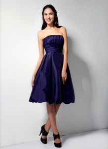 Strapless Ruched Purple Cocktail Party Dress in Taffeta Minnesota