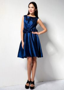 Taffeta Royal Blue Cocktail Party Dress in Scoop Neckline Redding