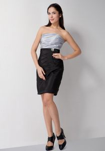 Ruched Taffeta Strapless Sliver and Black Cocktail Dress For Prom