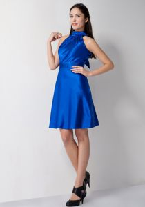 Taffeta Royal Blue High-neck Cocktail Party Dress Redondo Beach