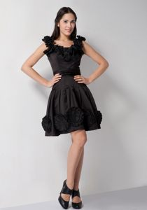 Black Homecoming Cocktail Dress with Hand Made Flowers Taffeta