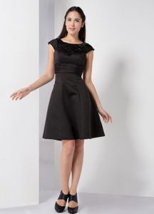 Black Simple Taffeta Scoop Neck Cocktail Dress For Prom Georgia