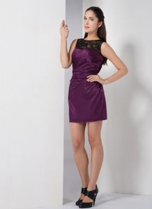 Dark Purple Cocktail Dress For Prom with Bateau Neckline Orange