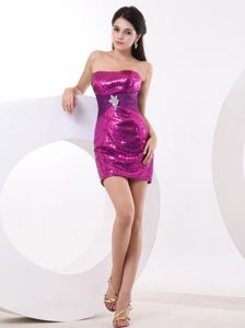 Fuchsia Mini-length Homecoming Cocktail Dress in Shinning Fabric