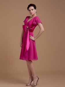 Fuchsia Cocktail Dress For Prom with a Bowknot Universal City