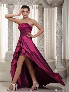 Beaded Taffeta Wine Red Homecoming Cocktail Dress Valencia