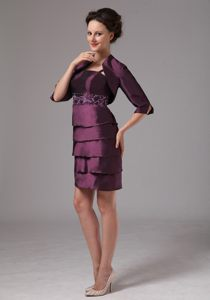 Upland Dark Purple Cocktail Dress For Prom with Layered Bottom